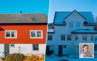 Totalrenovert enebolig: Bli med inn og se forvandlingen hos Kristina på Trengereid