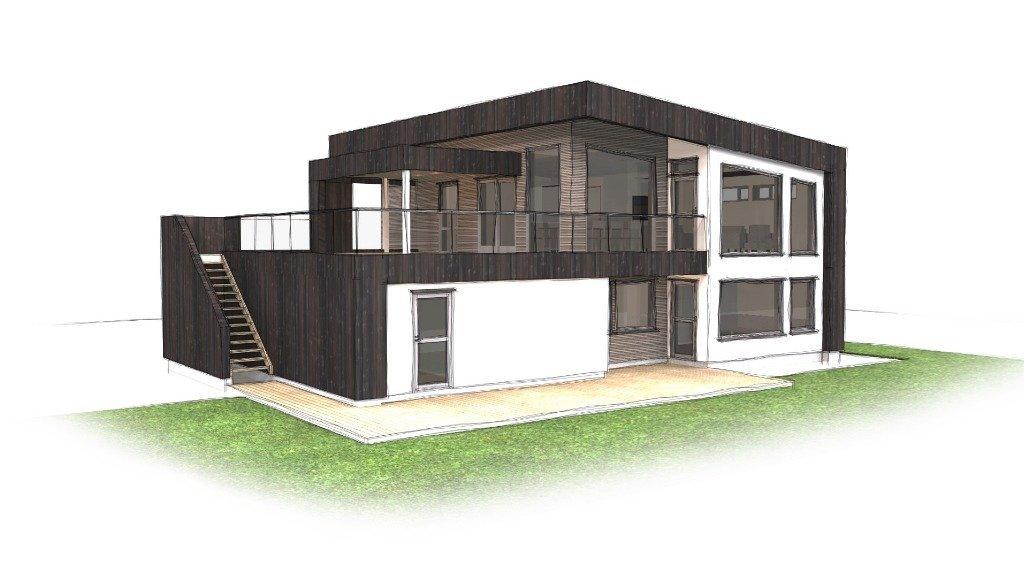 enebolig på sotra med integrert garasje og takterrasse
