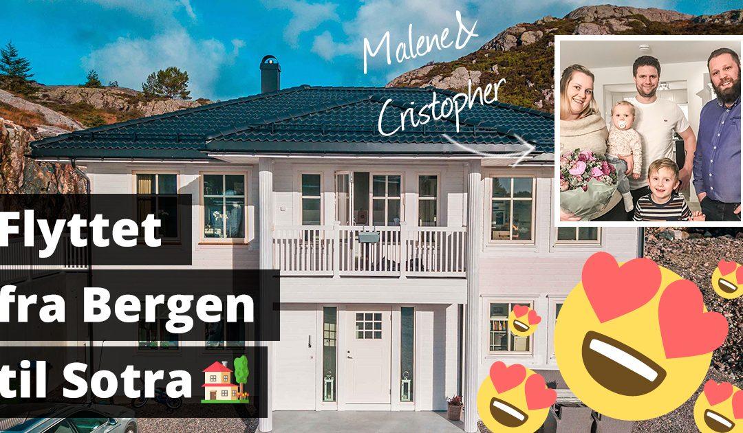Malene (24) og Cristopher (30) flyttet fra Bergen til Sotra og fikk mye mer hus for pengene – bli med inn og se hvor fint de har fått det
