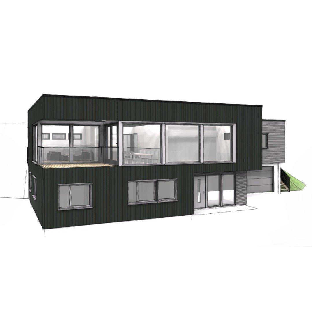 funkis enebolig med store vinduer med god utsikt