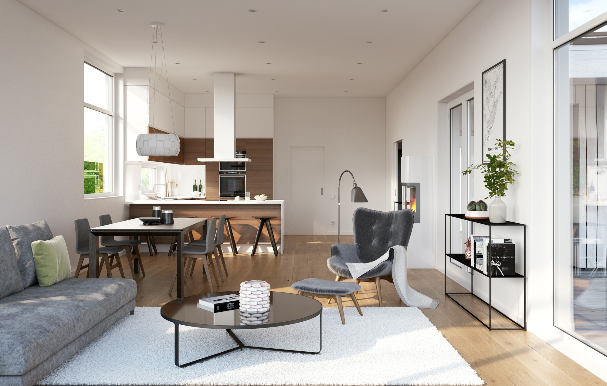 stue, kjøkken, åpen løsning